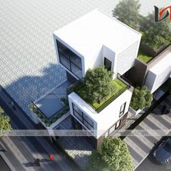 Mẫu nhà 3 tầng hiện đại mặt tiền 8m tràn ngập cây xanh ở Quảng Ninh  BT1673