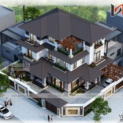 Mẫu nhà biệt thự 3 tầng 2 mặt tiền hiện đại diện tích đất 16mx12m BT1830
