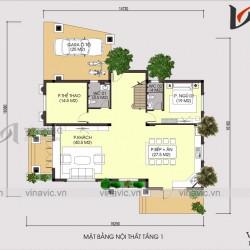 Bản thiết kế nhà 3 tầng có tầng lửng diện tích mặt tiền 9m sâu 14m BT1679