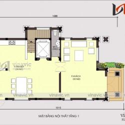 Thiết kế nhà đẹp 3 tầng mặt tiền 7m sâu 15m tân cổ điển ở Hà Nội BT1689