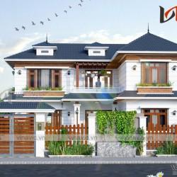 Mẫu nhà xinh 2 tầng chữ L mái thái 3 phòng ngủ  mặt tiền rộng BT1806