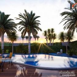 Mẫu nhà hiện đại 3 tầng có bể bơi mặt tiền rộng 14m sâu 23m BT2014