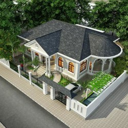 Thiết kế nhà 1 tầng 3 phòng ngủ ngang 13m dài 18m ở Đà Lạt BT1432