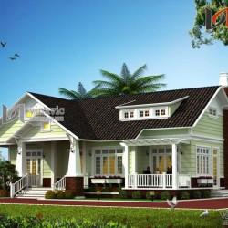 Mẫu nhà 1 tầng ngang 17m sâu 15m  4 phòng ngủ ở Phú Thọ BT1444