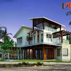 Biệt thự hiện đại 2 tầng kết hợp vật liệu kính và gỗ BT1421