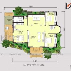 Mẫu biệt thự vườn 1.5 tầng 150m2 4 phòng ngủ  BT1420