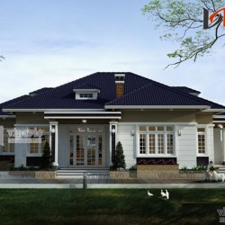 Nhà biệt thự mái thái 1 tầng đẹp phong cách hiện đại: BT1514