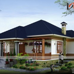 Bản thiết kế nhà vuông 1 tầng 3 phòng ngủ mái thái diện tích 12x14m BT1531