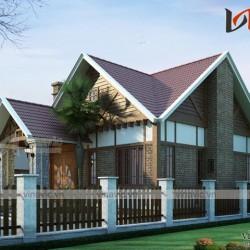 Thiết kế biệt thự mini 1 tầng 100m2 2 phòng ngủ kích thước 8x12m BT1613