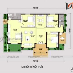 Bản vẻ thiết kế nhà vườn mái thái một tầng 3 phòng ngủ 16x10m BT1616