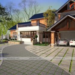 Mẫu nhà vườn 2 tầng ở nông thôn 4 phòng ngủ mặt tiền 20m hiện đại BT1617