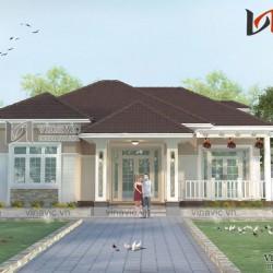 Mẫu nhà vuông 1 tầng mái thái 150m2 kích thước 14x11m 3 phòng ngủ BT1618