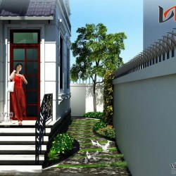 Bản vẽ thiết kế biệt thự đẹp 2 tầng diện tích 200m2 mặt tiền 9m BT1459