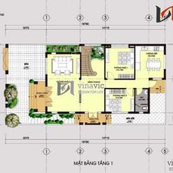 Mẫu biệt thự phố 2 tầng mặt tiền 10m chiều sâu 20m hiện đại BT1463