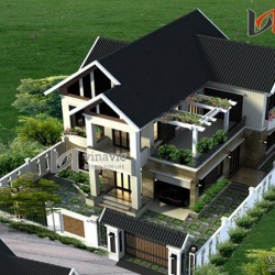 Biệt thự nhà vườn 2 tầng 300m2 sân vườn rộng thiết kế hiện đại  BT1442
