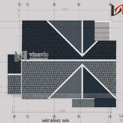 Bản thiết kế nhà 2 tầng có diện tích 8x11m phong cách tân cổ điển BT1498