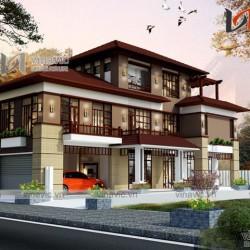 Nhà biệt thự 3 tầng phong cách hiện đại có gara ô tô BT1634