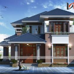 Biệt thự 2 tầng mái thái ở nông thôn đẹp kích thước 14x10m BT1637