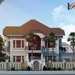 Bản thiết kế nhà 2 tầng rộng 15m dài 14m ở Thành Phố Huế BT1647