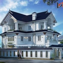 Mẫu nhà biệt thự 3 tầng mặt tiền 12m sâu 18m phong cách tân cổ điển BT1648