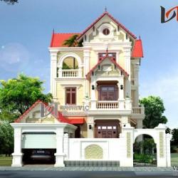 Biệt thự 3 tầng cổ điển ngang 12m sâu 18m 4 phòng ngủ 1 gara oto BT1475