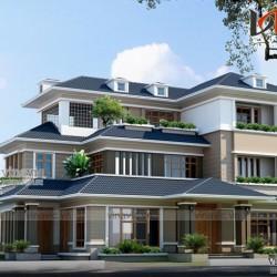Biệt thự 200m2 3 tầng hiện đại 5 phòng ngủ phòng thờ, nhà ăn và bếp BT1516