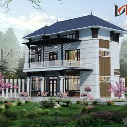 Mẫu nhà 3 tầng mặt tiền 9m thiết kế hiện đại ở Gia Lâm- Hà Nội BT1626
