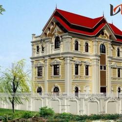 Biệt thự đẹp 3 tầng ngang 9m sâu 16m mái ngói đỏ tươi BT1652