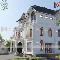 Thiết kế nhà 3 tầng ở Hải Phòng mặt tiền rộng 13m chiều sâu 15m BT1655
