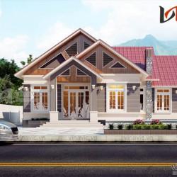 Mẫu thiết kế nhà cấp 4 đẹp ở nông thôn mái thái 4 phòng ngủ BT1810