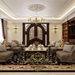 Mẫu nội thất đẹp cổ điển bằng gỗ tự nhiên cho căn biệt thự đẳng cấp NT2012