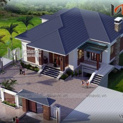 Mẫu thiết kế nhà mái thái 1 tầng 3 phòng ngủ rộng 13m dài 12m BT1510
