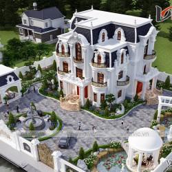 Thiết kế biệt thự tân cổ điển 3 tầng nguy nga bề thế ở Đô Lương- Nghệ An BT2029