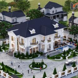 Thiết kế biệt thự vườn 2 tầng tân cổ điển ở  Sơn La BT2031