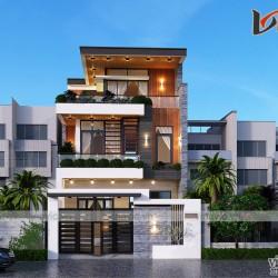 Thiết kế nhà phố mặt tiền 6m dài 18m 3 tầng hiện đại ở Quảng Bình BT2024