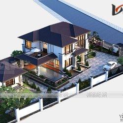 Mẫu nhà mái Nhật 2 tầng hiện đại kích thước 14x18m BT2019