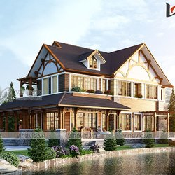 Biệt thự nhà vườn 2 tầng hiện đại làm bằng gỗ conwood ở Hà Nội BT2103