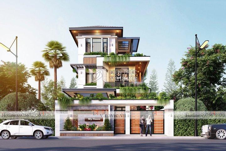 Nhà hiện đại 3 tầng 1 mặt tiền 7.5m ở Thái Bình BT2108
