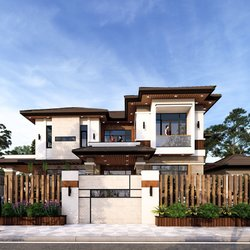 Thiết kế biệt thự 2 tầng 2 mặt tiền hiện đại ở Cần Thơ BT2109