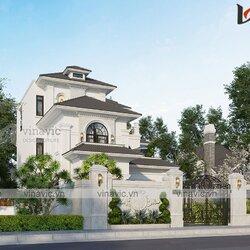 Nhà hình chữ nhật 3 tầng 160m2 mặt tiền 13m phong cách tân cổ điển BT2111