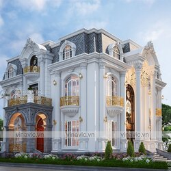 Mẫu thiết kế nhà tân cổ điển 2 tầng mặt tiền 12m ở Hưng Yên BT2113