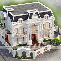 Mẫu nhà đẹp 2 tầng hai mặt tiền tân cổ điển BT2114