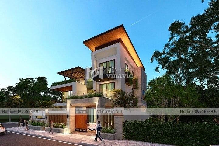 Mẫu nhà hiện đại 3 tầng 2 mặt tiền diện tích 160m BT2118