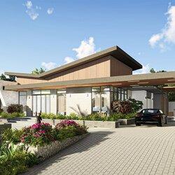 Biệt thự 1 tầng hiện đại 4 phòng ngủ cây cối bao quanh BT2116