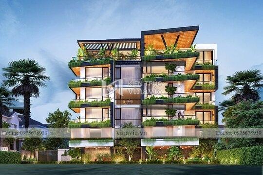Biệt thự phố hiện đại mặt tiền 8m 6 tầng ở TPHCM BT2115