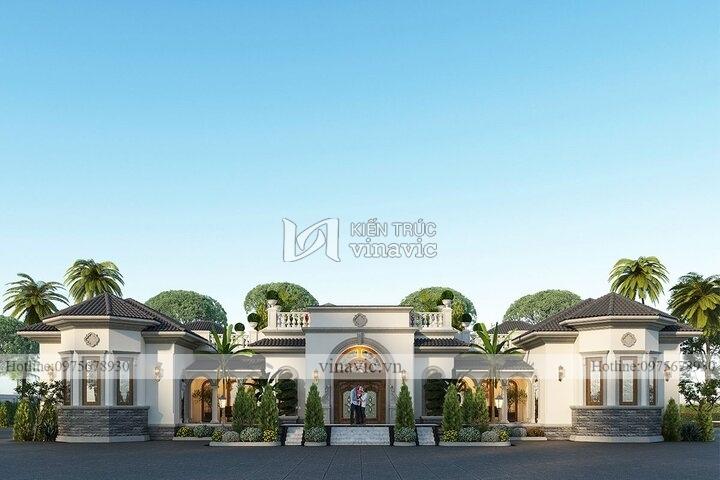 Dinh thự 1 tầng phong cách Địa Trung Hải DT2101