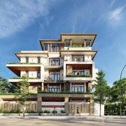 Nhà biệt thự 4 tầng 1 tum hiện đại 2 mặt tiền BT2125