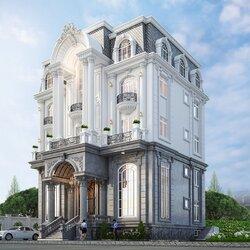 Thiết kế nhà biệt thự cổ điển 4 tầng rộng 15m sâu 11.5m BT2127