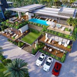 Mẫu thiết kế biệt thự hiện đại 3 tầng có bể bơi vô cực BT2128