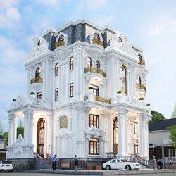 Thiết kế biệt thự 4,5 tầng phong cách cổ điển BT2129